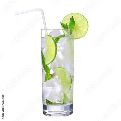 Mojito. Cocktail with straw isolation