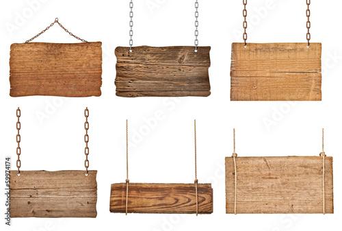 Leinwanddruck Bild wooden sign background message rope chain hanging
