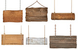 Fototapety wooden sign background message rope chain hanging