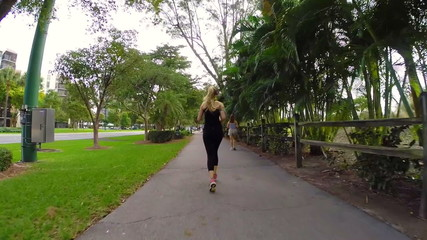 Woman running in slow motion