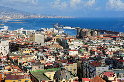 Naples, Vesuvius and port, Italy