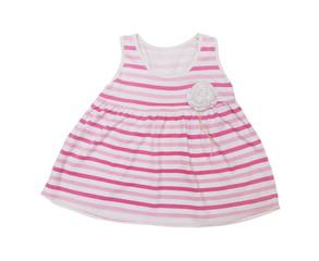 stripe pink dress for child on white background