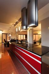 Red kitchen top
