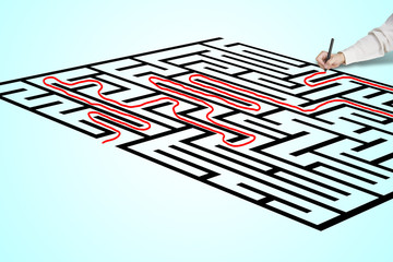 Hand drawing solution on maze