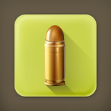 Bullet, long shadow vector icon