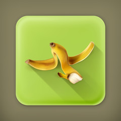 Banana peel, long shadow vector icon
