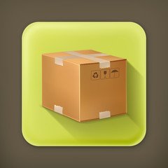 Carton box, long shadow vector icon