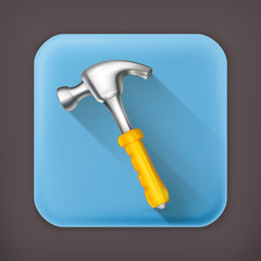 Hammer, long shadow vector icon
