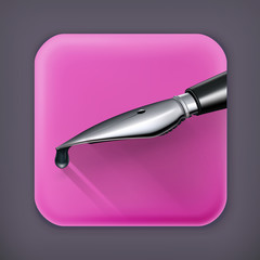 Ink pen, long shadow vector icon