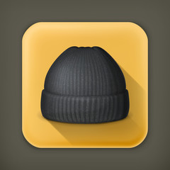 Knitted black cap, long shadow vector icon