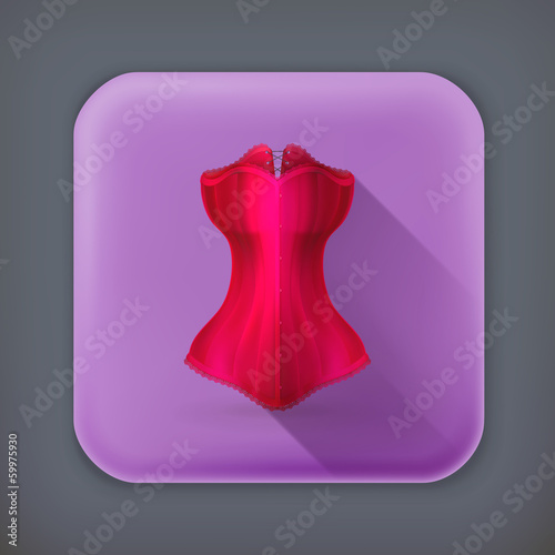 Corset, long shadow vector icon