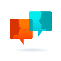 Dialog - Speech bubbles with two faces