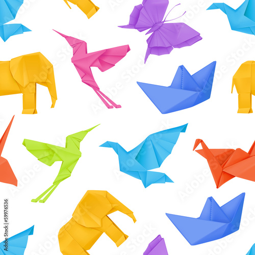 Origami multicolored, vector seamless pattern