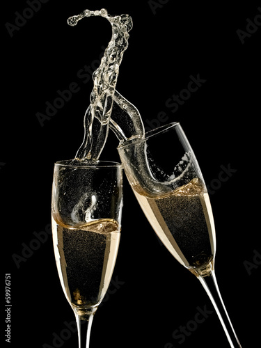 Two champagne glasses up