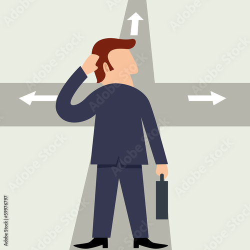 Simple cartoon of a man figure standing at the intersection