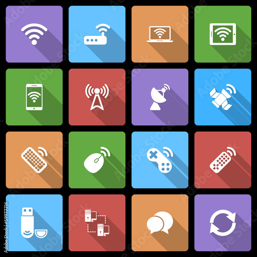 Wireless Devices Icons Set with Long Shadow
