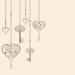 Illustration of vintage hearts and keys hanging