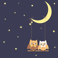 Cute owls on the moon swings