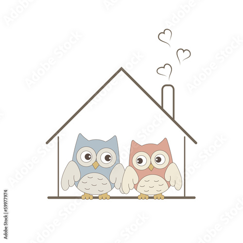Cute owls couple in their cosy nest