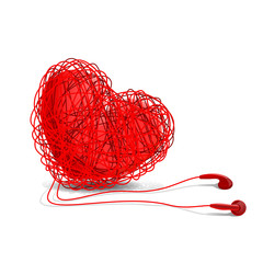 Heart and earphones