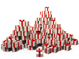 Lots of holiday gifts in white boxes with red ribbon