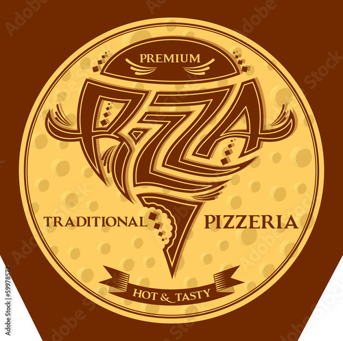 packing box pizza with inscriptions and emblem