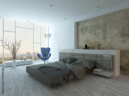 Modern factory-style bedroom interior with concrete wall