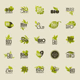 Bio product. Set of vector labels and emblems