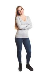 Stehende Frau mit guter Laune - ganzer Körper