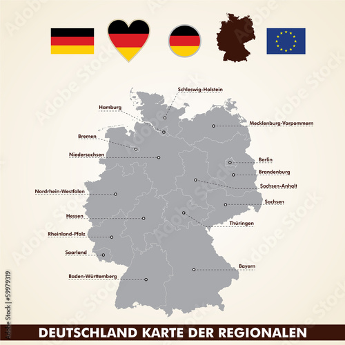 Deutschlandkarte, Germany map regional pack