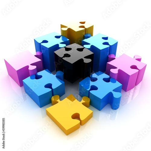 Puzzle of the four elements. Conceptual image - a palette CMYK