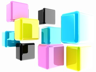 Glossy CMYK cubes on white