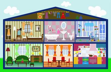 cute house in a cut, vector illustration