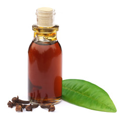 Cloves and leaf with essential oil