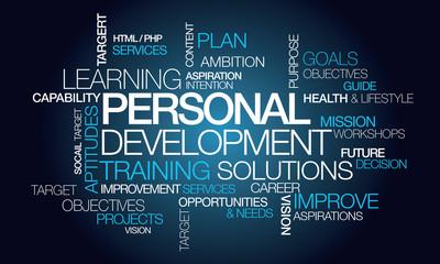 Personal development training plan word tag cloud illustration