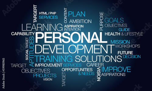 Personal development training plan word tag cloud illustration