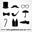 Retro gentleman icon set. VECTOR illustration.
