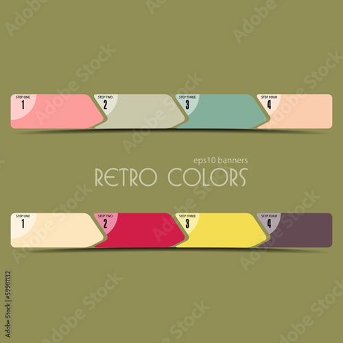 Vector illustration of linear progress bar in retro colors