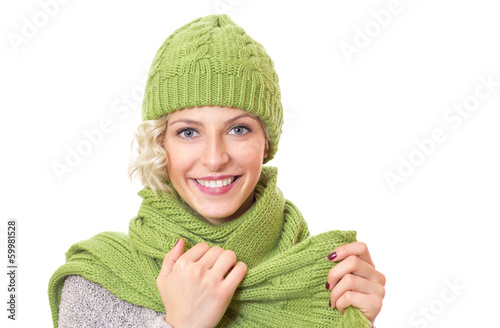 Happy girl with warmly - winter clothing