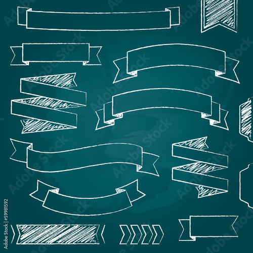 Vector ribbons and banners, chalk doodles