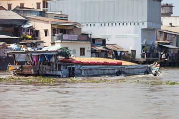 Vietnamese boat loaded with rice, Cat Ba, Mekong Delta, Vietnam