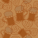 Seamless pattern with beer  and pretzels