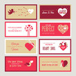 Set of Valentines day greeting card templates