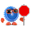 Plastic cog with blank road sign