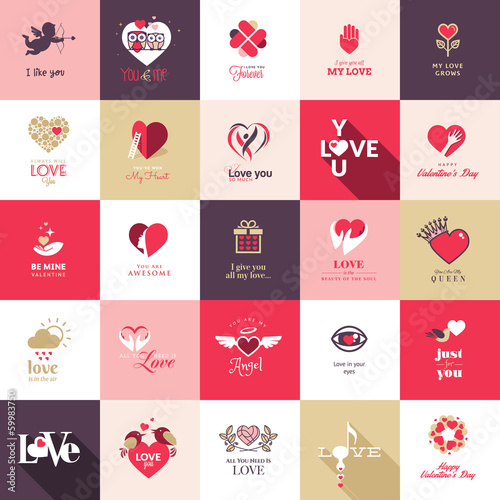 Set of icons for love and romantic events