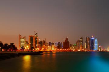 The skyline of West Bay Doha, Qatar
