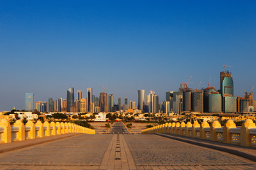 West Bay City skyline as viewed from The Grand Mosque Doha Qatar