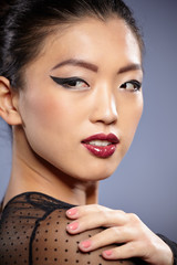 Asian woman beauty face closeup portrait. Beautiful attractive m