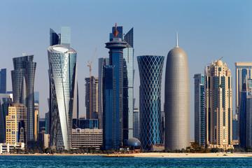 The West Bay City skyline of Doha, Qatar