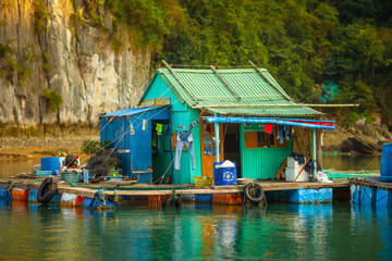 House of floating fishing village in Ha Long Bay, North Vietnam